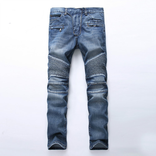 Mens ripped nostalgic jeans light blue straight slim fit TX1722