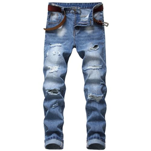 Mens ripped jeans Slim-fit straight multi-holes non-stretch cotton Mens denim trousers TX002