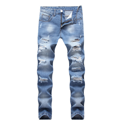 Mens ripped jeans light blue trendy straight slim fit big ripped TX405