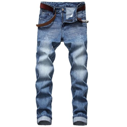 Mens straight slim non-stretch cotton jeans Light-colored Mens denim trousers TX409