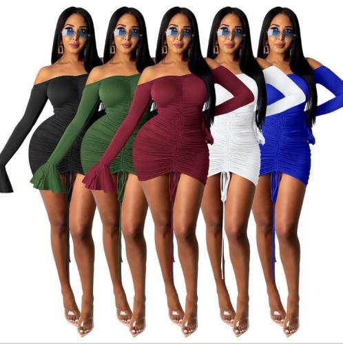 Open back flared sleeve dress WMZ2610