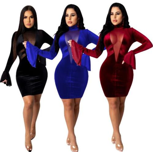womens Deep V Pure Color Mesh Dress P8560