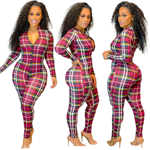womens plaid printed zipper casual jumpsuit BLX7550