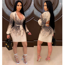 Sexy Printed V-Neck Long Sleeves Backless Lace-Up Mini Dress SH7244