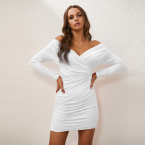Sexy one-shoulder cross V-neck tight stitching long sleeve ladies dress ZY1596