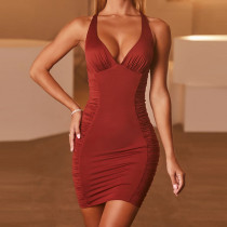 2021 spring new commuter women's V-neck open back sexy pleated red dress ZY1716