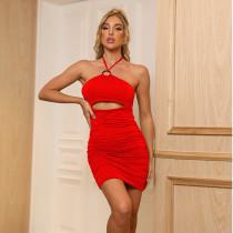 2021 spring and summer new women's temperament commuter solid color halter mid-waist skirt dress ZY1815