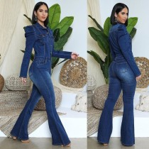 Fashion Denim Turn-Down Collar Long Sleeves Plus Size Jumpsuit  OSS20917