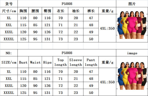 Plus Size Solid Color Round Neck Short Sleeves With Shorts Two Pieces Sets  ONY5008