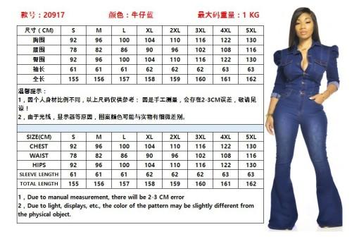 Fashion Denim Turn-Down Collar Long Sleeves Plus Size Jumpsuit  OSS20917