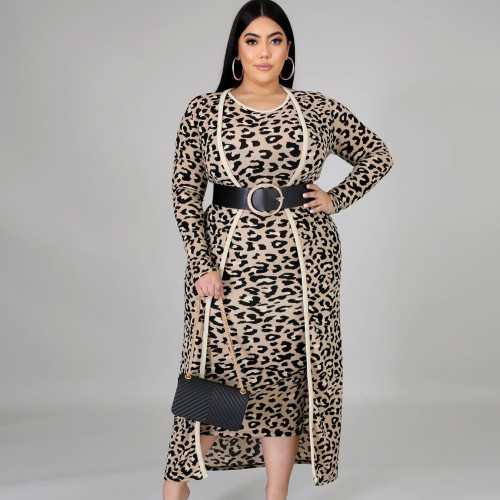 Plus Size Leopard Round Neck Sleeveless Midi Dress With Long Cardigan Two Pieces Sets  ONY5059