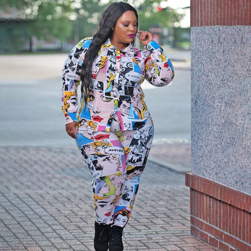 Plus Size Printed Long Sleeves Shirt With Trousers Two Pieces Sets  ONY5072
