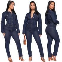 Fashion Denim Turn-Down Collar Long Sleeves Skinny Jumpsuit JLX6047