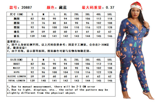 Fashion Home Wear Printed V-Neck Long Sleeves Plus Size Jumpsuit  OSS20887