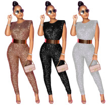 Plus Size Sexy Sequins Round Neck Sleeveless Jumpsuit  YF8863