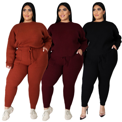 Plus Size Knitting Round Neck Long Sleeves Top With Drawstring Trousers Two Pieces Sets  YF1415