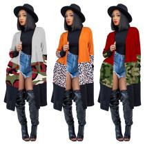 Fashion Contrast Stitching Leopard Printed Long Sleeves Midi Cardigan MTY6381