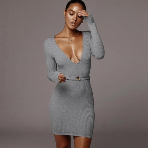 Fashion Knitting V-Neck Long Sleeves Mini Bodycon Dress  MLS1019