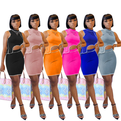 Fashion Round Neck Sleeveless Irregular Top With Mini Skirt Two Pieces Sets  M2077