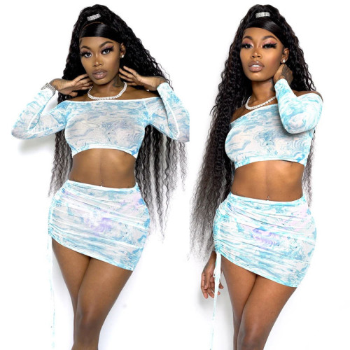Sexy Printed Off Shoulder Long Sleeves Cropped Top With Drawstring Mini Skirt Two Pieces Sets  K9825