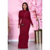 Fashion Solid Color Long Sleeves Backless Skinny Long Dress  F262
