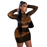Sexy Mesh Stitching Printed Round Neck Long Sleeves Cropped Top With Mini Skirt Two Pieces Sets  K9827