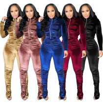 Fashion Velvet Pleated Zipper Long Sleeves Top With Trousers Two Pieces Sets  S390070