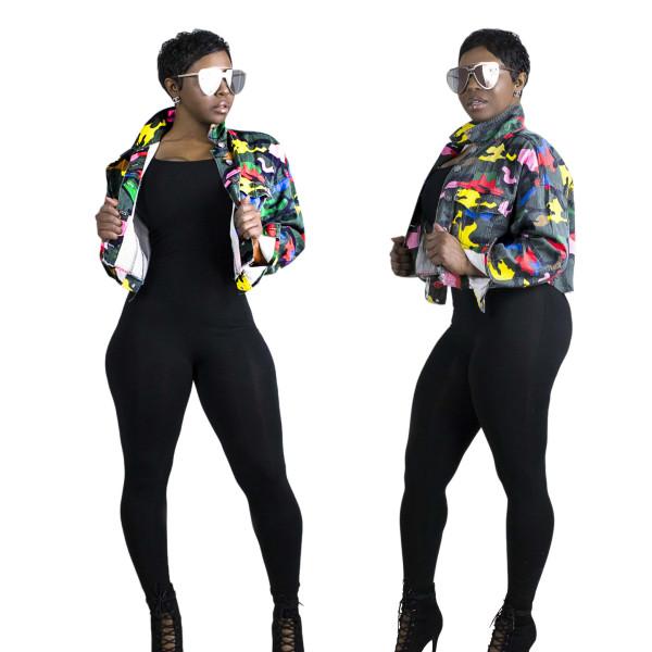 Fashion Camouflage Printed Turn-Down Collar Long Sleeves Short Denim Jacket  JLX6088