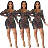 Sexy Sequins Square Collar Long Sleeves Backless Mini Bodycon Dress  JLX8569