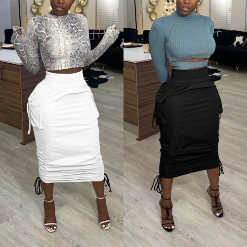 Fashion Solid Color High Waist Drawstring Midi Skirt  VK2078