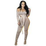 Sexy Off Shoulder Long Sleeves Backless Bodysuit With Trousers Pleated Two Pieces Sets  K9815
