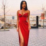 Sexy Solid Color Suspenders Backless High Split Midi Bodycon Dress  23019P