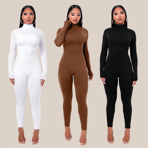 Casual Solid Color High Collar Long Sleeves Skinny Jumpsuit  P003559