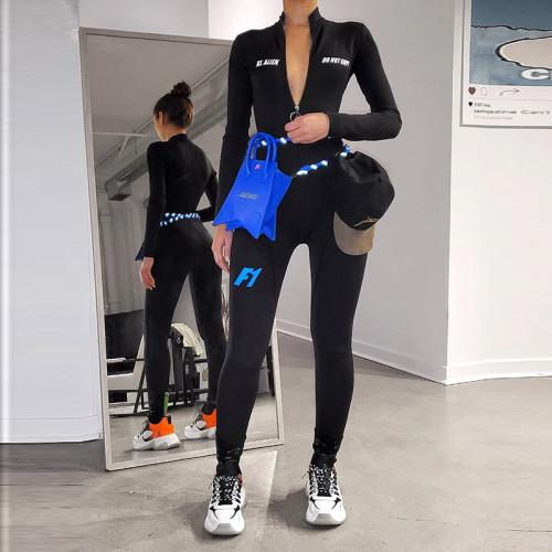 Sports Letter Printed Zipper High Collar Long Sleeves Jumpsuit  K20Q10786