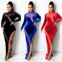 Sexy Mesh Stitching Round Neck Long Sleeves High Split Velvet Maxi Dress  A7169