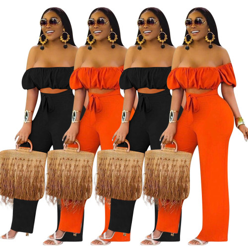 Sexy Off Shoulder Short Sleeves Hollow Out Wide Leg Pants Jumpsuit  YD8214