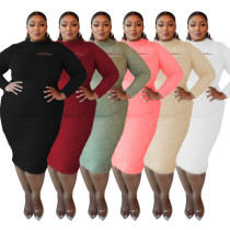 Plus Size Solid Color Hollow Out Round Neck Long Sleeves Midi Sweater Dress  CY1434