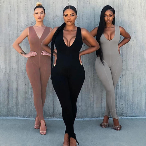 Sexy Solid Color V-Neck Sleeveless Split Jumpsuit  P1737946