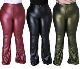 Plus Size High Waist Flared Pants Leather Trousers  QJ5274