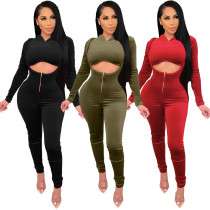 Fashion Solid Color Long Sleeves Hooded Cropped Sweater With High Waist Trousers Two Pieces Sets  A5220