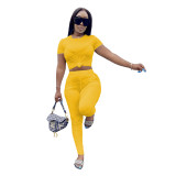 Casual Solid Color Rond Neck Short Sleeves T-Shirt With Trousers Two Pieces Sets  AL153