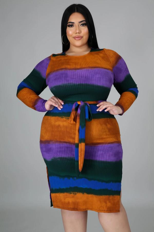 Plus Size Contrast Stitching Round neck Long Sleeves Split Midi Dress  QJ5275
