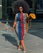 Plus Size Printed Round Neck Short Sleeves Midi Bodyocn Dress  QJ5273