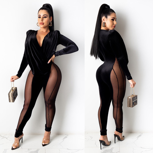 Sexy Mesh Stitching V-Neck Ruff Long Sleeves Velvet Jumpsuit  A7170