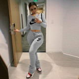 Casual Printed Round Neck Long Sleeves Tops With Drawstring Stack Pants Two Pieces Sets  NK333