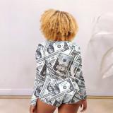 Homewear Printed Round Nck Long Sleeves Short Pants Jumpsuit  NK204