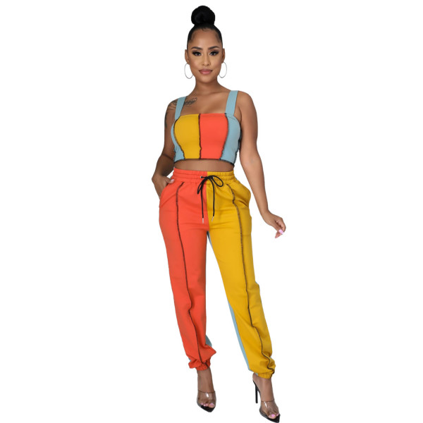 Sexy Contrast Stitching Suspenders Cropped Vest With Drawstring Trousers Two Pieces Sets  FM2008