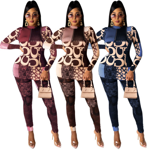 Fashion Printed High Collar Long Sleeves Tops With Trousers Two Pieces Sets GL6327