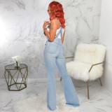 Fashion Solid Color Hole Denim Flared Pants Skinny Jumppsuit  SMR9627
