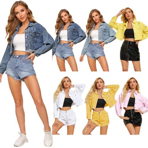 Fashion Hole Turn-Down Collar Long Sleeves Short Denim Jacket  WY7318-1